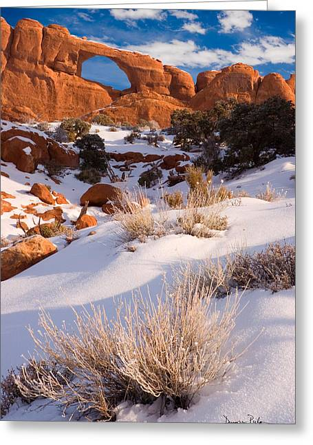 Slickrock Greeting Cards - Winter Morning at Arches National Park Greeting Card by Utah Images