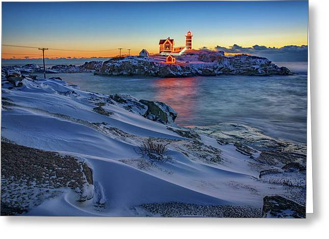 Winter Morning At Cape Neddick Greeting Card by Rick Berk