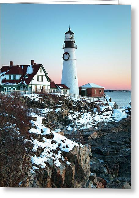 Winter Morning At Portland Head Lighthouse Greeting Card by Eric Gendron