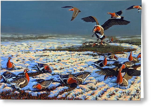 Snow Geese Paintings Greeting Cards - Winter Morning in Primorska Dobrudja Greeting Card by Valentin Katrandzhiev