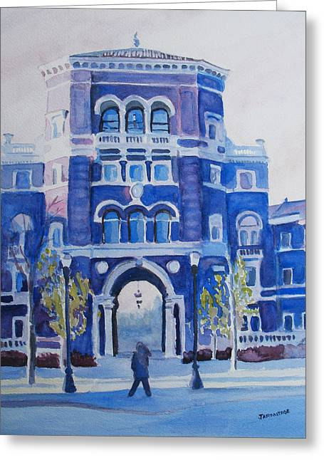 Winter Morning On Campus Greeting Card by Jenny Armitage