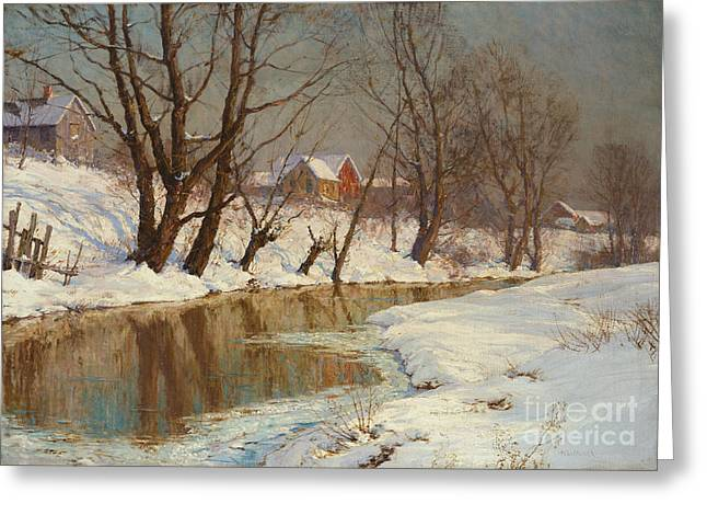 Rural Landscapes Paintings Greeting Cards - Winter Morning Greeting Card by Walter Launt Palmer