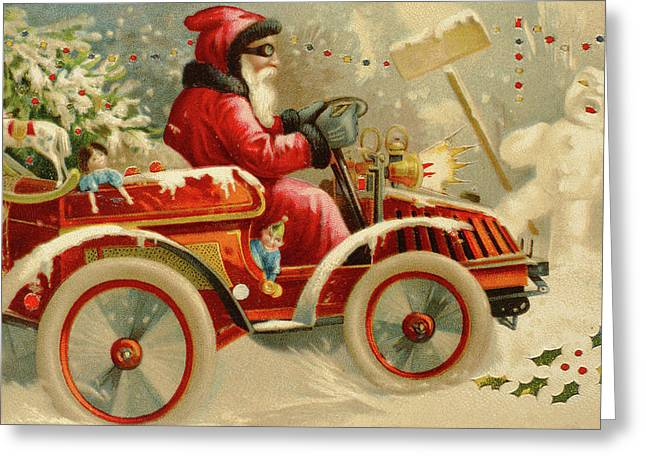 Winter Motoring, Victorian Christmas Card Greeting Card by English School