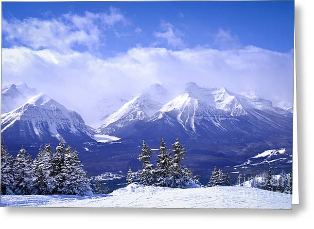 Rocky Mountains Greeting Cards - Winter mountains Greeting Card by Elena Elisseeva