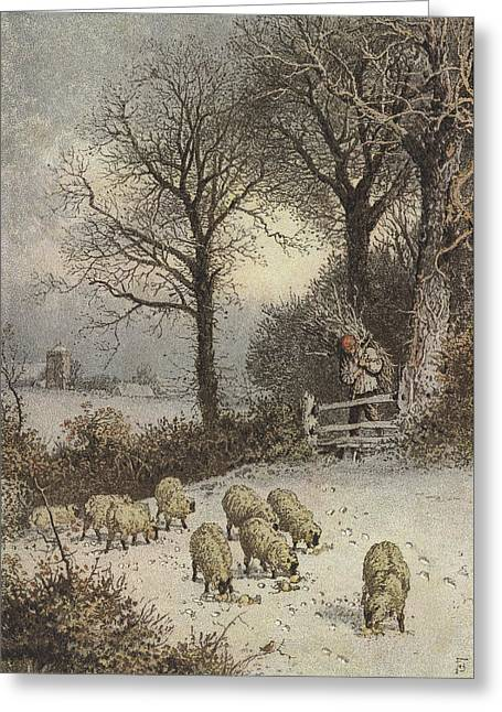 Grazing Snow Paintings Greeting Cards - Winter Greeting Card by Myles Birket Foster