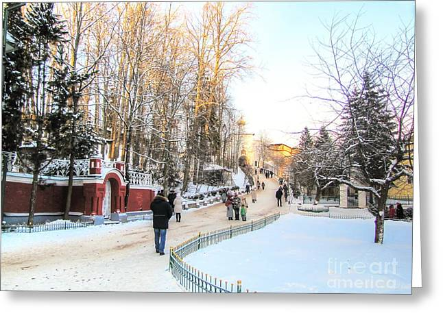 People Pyrography Greeting Cards - winter near Pskov Greeting Card by Yury Bashkin