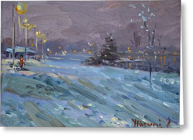 Winter Nocturne By Niagara River Greeting Card by Ylli Haruni