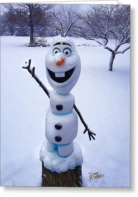 Winter Olaf Greeting Card by Doug Kreuger