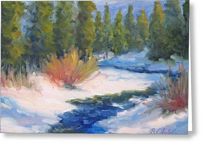 Winter On Gore Creek Greeting Card by Bunny Oliver