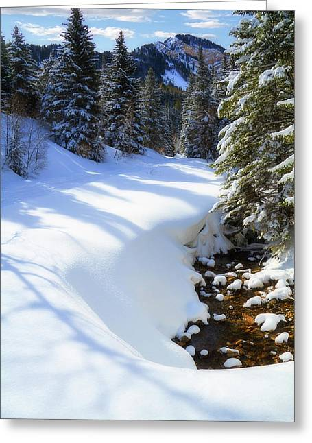 Snowy Mountain Loop Greeting Cards - Winter on Mount Timpanogos Greeting Card by Utah Images