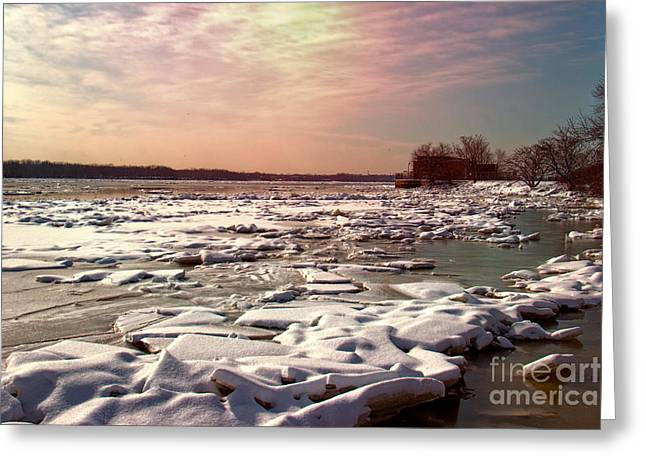 Drifting Snow Greeting Cards - Winter on the Delaware Greeting Card by Tom Gari Gallery-Three-Photography