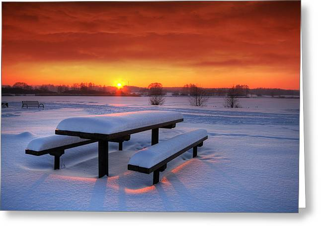 Snowy Evening Greeting Cards - Winter picnic Greeting Card by Jaroslaw Grudzinski