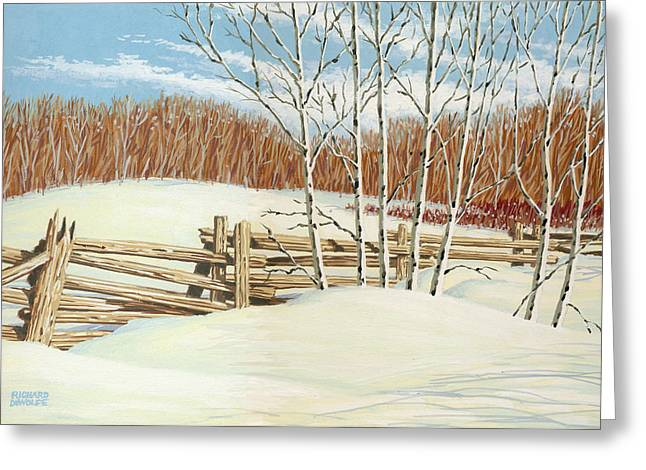 Landscapes Paintings Greeting Cards - Winter Poplars 2 Greeting Card by Richard De Wolfe