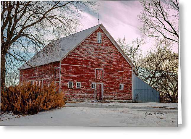 Recently Sold -  - Snow Scene Landscape Greeting Cards - Winter Red Barn Greeting Card by Jeffrey Henry
