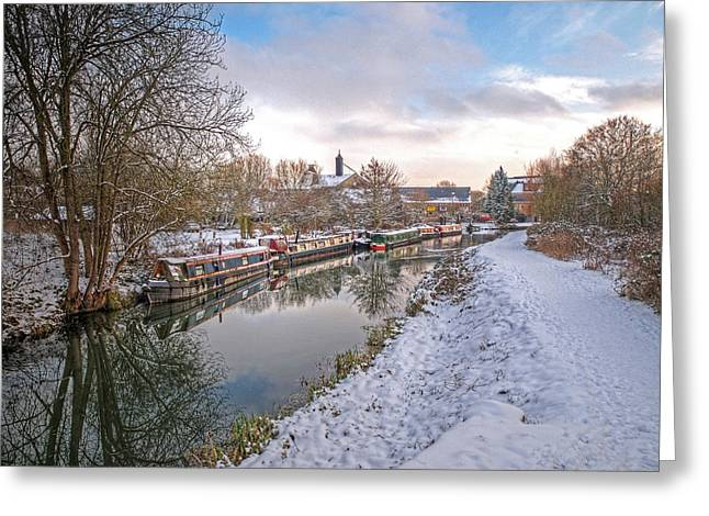 Winter Reflections On The River Greeting Card by Gill Billington