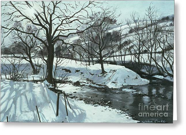 Winter River Greeting Card by John Cooke
