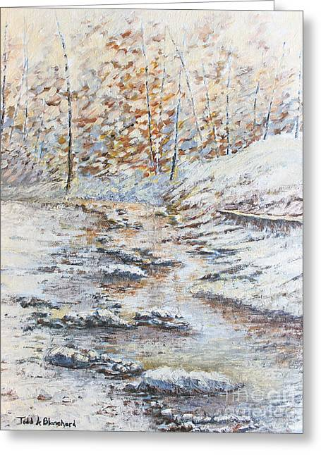 Tennessee River Paintings Greeting Cards - Winter River Greeting Card by Todd A Blanchard