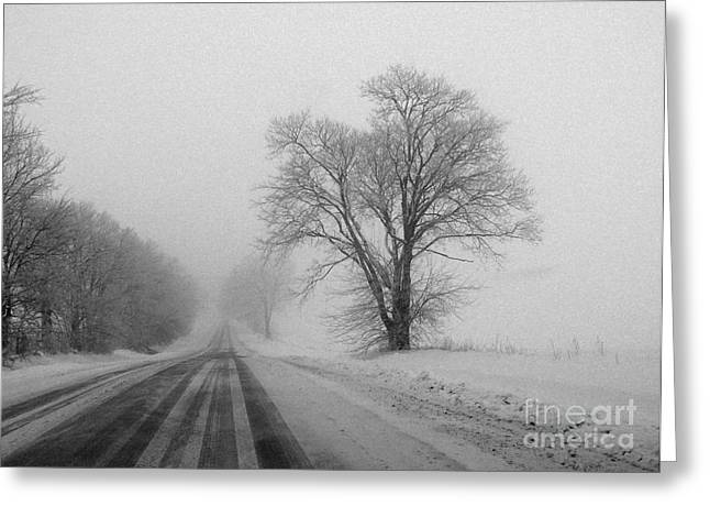 Winter Roads Greeting Cards - Winter Road Greeting Card by David Bearden