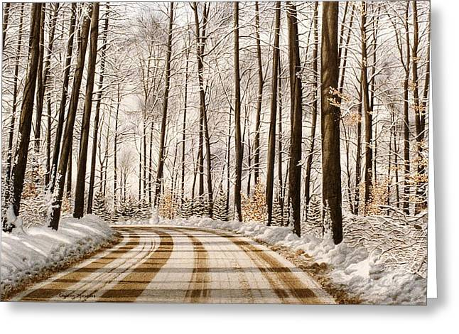 Cards Greeting Cards - Winter Road through the Forest Greeting Card by Conrad Mieschke