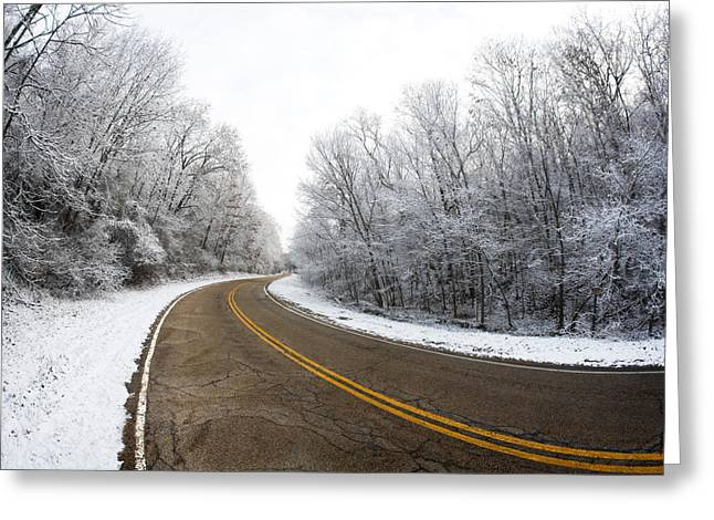 Winter Road Greeting Card by Todd Klassy