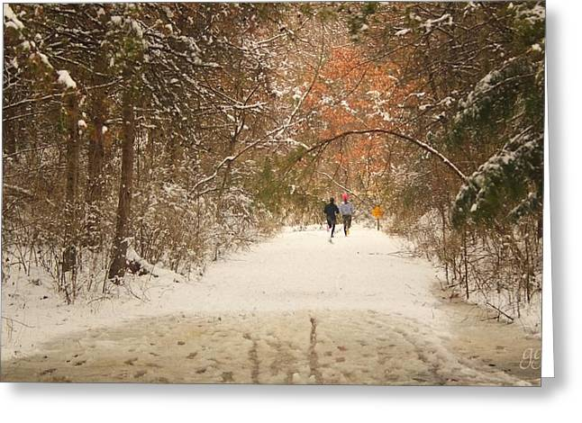 Healthy Greeting Cards - Winter Run Greeting Card by Geri Glavis