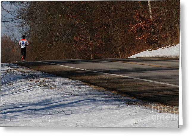 Winter Run Greeting Card by Linda Knorr Shafer