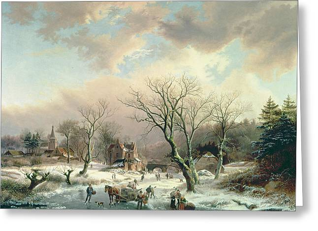 53 Greeting Cards - Winter Scene   Greeting Card by Johannes Petrus van Velzen
