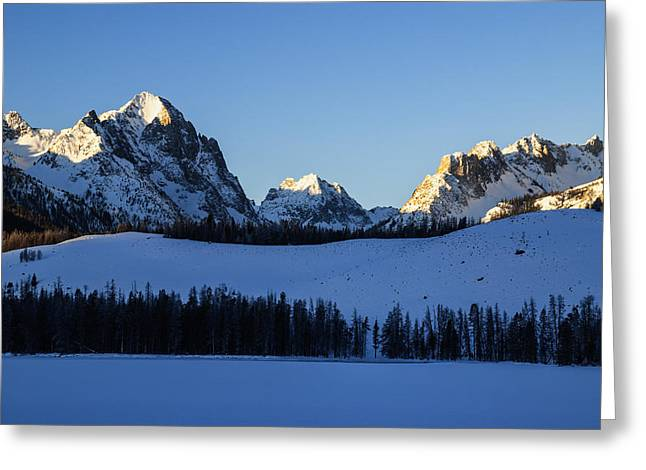 Sunlight Peaking Greeting Cards - Winter scene along Sawtooth Range in Stanley Idaho USA Greeting Card by Vishwanath Bhat