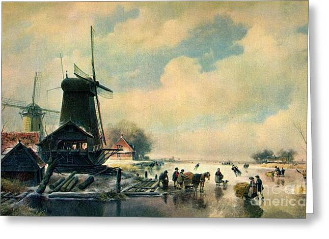 Ice-skating Greeting Cards - Winter scene in Holland oil painting Greeting Card by Heidi De Leeuw