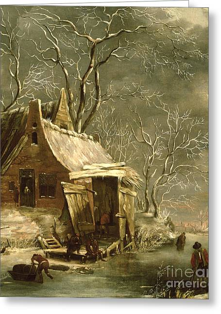 Shed Paintings Greeting Cards - Winter Scene Greeting Card by Jan Beerstraten