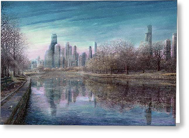 Lincoln Park Lagoon Greeting Cards - Winter Serenity Snow Greeting Card by Doug Kreuger