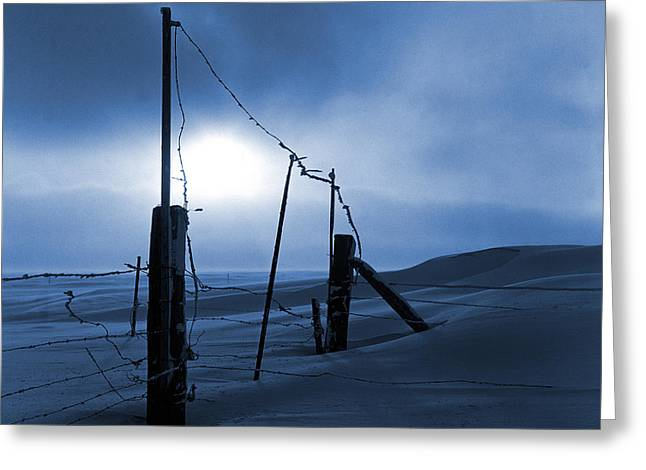 Snowstorm Posters Greeting Cards - Winter Setting Sun Blue Toned Greeting Card by Donald  Erickson