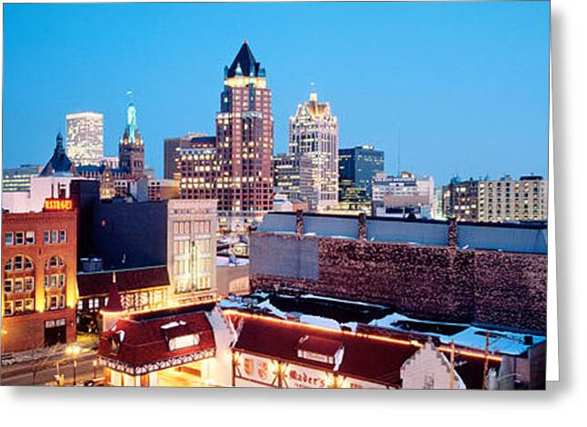 Winter Skyline At Night, Milwaukee Greeting Card by Panoramic Images