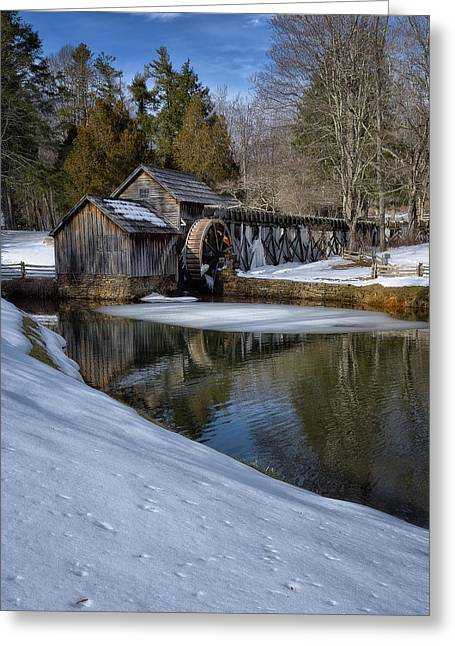 Winter Snow At Mabry Mill Greeting Card by Steve Hurt