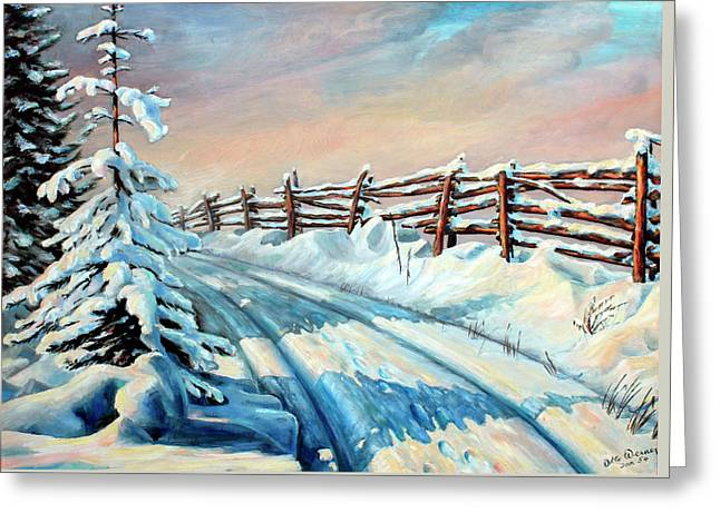 Winter Snow Tracks Greeting Card by Otto Werner