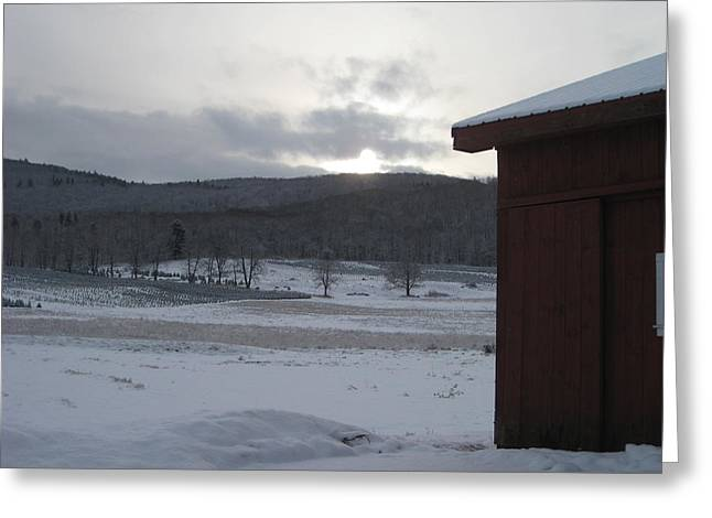 Snow Scene Landscape Greeting Cards - Winter Snow with Barn Greeting Card by Ceil Petrucelli