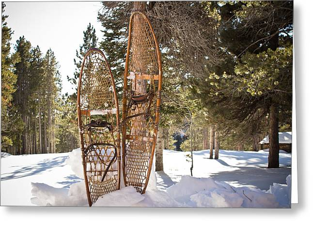 Snowy Day Greeting Cards - Winter Solitude - Snowshoes - Casper Mountain - Casper Wyoming Greeting Card by Diane Mintle