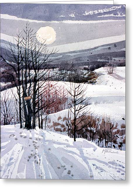Snowscape Paintings Greeting Cards - Winter Solstice Greeting Card by Donald Maier