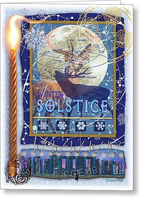 Celestial Digital Greeting Cards - Winter Solstice Greeting Card by Ernestine Grindal