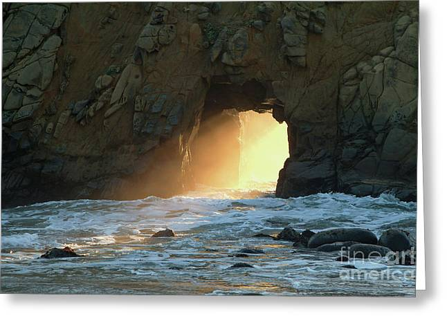 Pfeiffer Beach Greeting Cards - Winter Solstice Sunset in Big Sur Greeting Card by Charlene Mitchell