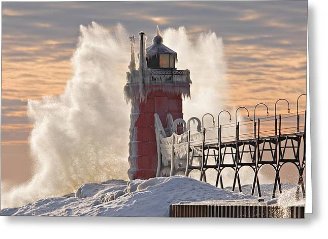 Recently Sold -  - Snow Scene Landscape Greeting Cards - Winter South Haven Lighthouse Greeting Card by Dean Pennala