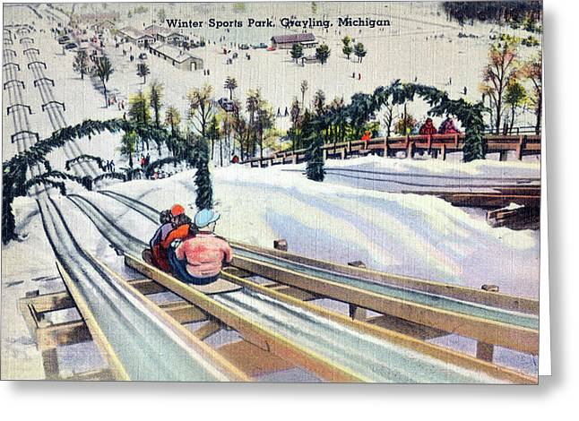 Winter Sports Park Grayling Michigan Linen Restored Greeting Card by Steven Covieo