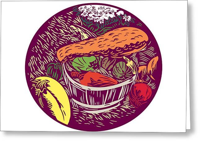 Winter Squash Pumpkin Oval Woodcut Greeting Card by Aloysius Patrimonio