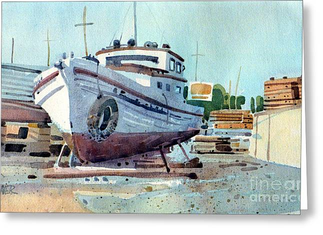 Fishing Boats Greeting Cards - Winter Storage Greeting Card by Donald Maier