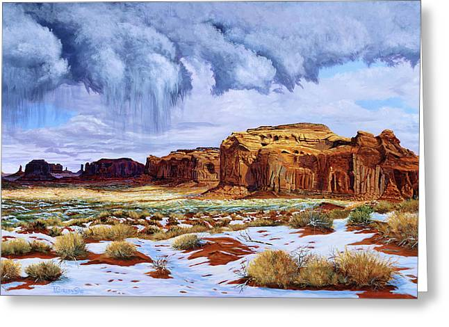 Winter Storm In Mystery Valley Greeting Card by Timithy L Gordon