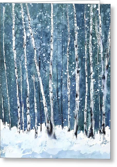 Snow Tree Prints Greeting Cards - Winter Storm Watch Greeting Card by Tamara Gonda