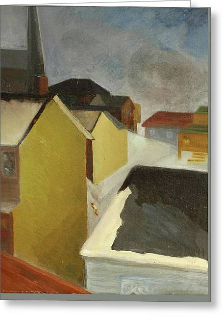 Forties Paintings Greeting Cards - Winter Street Greeting Card by Willoughby  Senior