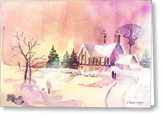 Snow Scene Landscape Greeting Cards - Winter Stroll Greeting Card by Arline Wagner