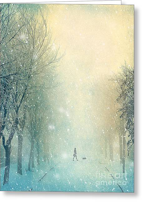 White River Mixed Media Greeting Cards - Winter Stroll Greeting Card by Svetlana Sewell