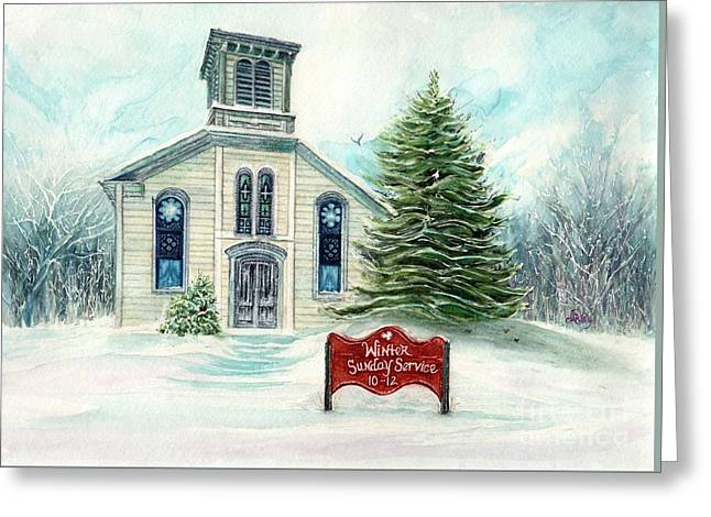 Winter Sunday Service - Country Church Greeting Card by Janine Riley